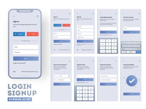 Set of mobile login screens with UI for applications including A
