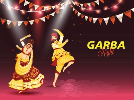 Illustration of couple dancing on occasion of Garba Night celebr