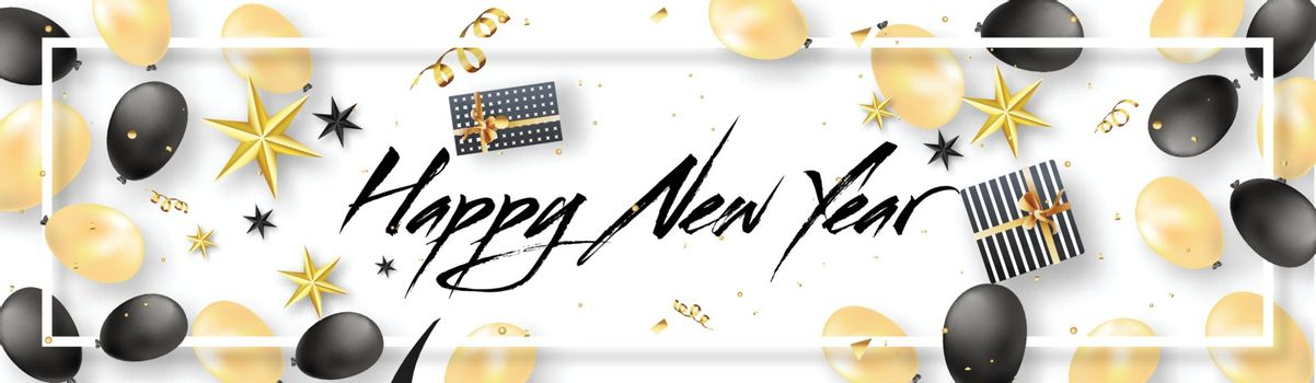 Happy New Year header or banner design decorated with balloons, stars and gift boxes.
