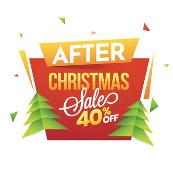 Christmas Sale tag or label design with xmas tree and 40% discou