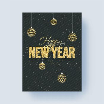Glitter lettering of Happy New Year on black background decorated with baubles. Can be used as greeting card design.