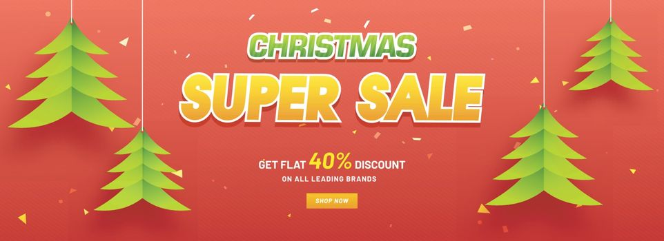 Christmas Super Sale header or banner design with 40% discount o