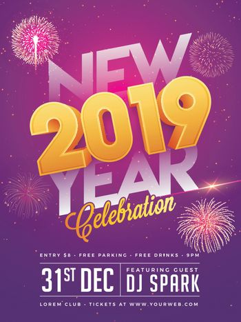 Glossy 3D text 2019 with time, date and venue details on purple