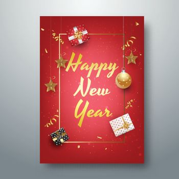 Golden lettering of Happy New Year with stars and gift boxes on red background for 2019 greeting card design.