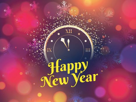 Happy New Year celebration greeting card design with glittering clock on bokeh background. Can be used as poster or banner design.
