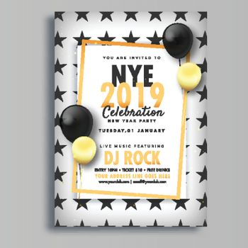 Creative template or flyer design with time, venue details for N