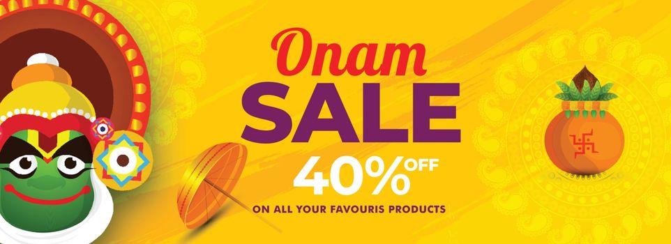 Onam Sale header or banner design with 40% discount offer, Katha