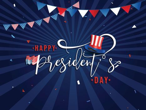 Stylish lettering of president's day with uncle sam hat illustra