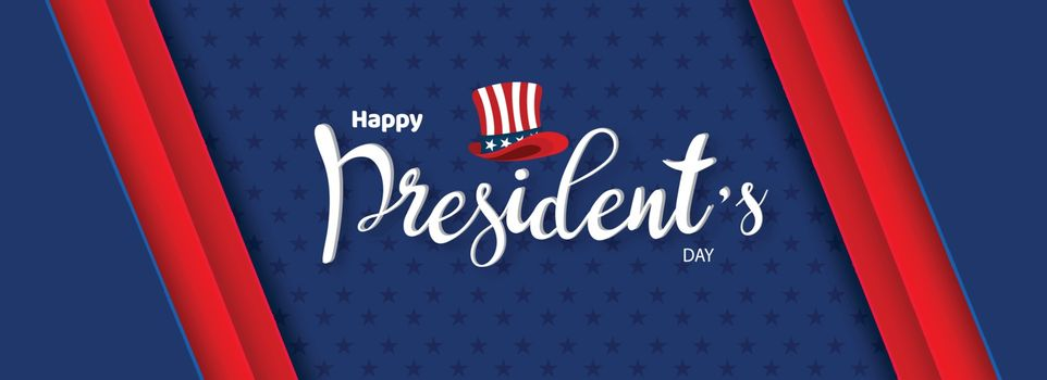 Calligraphy of Happy President's Day with uncle sam hat illustra