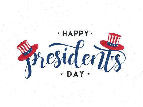 Stylish lettering of President's Day with uncle sam hat on white