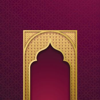 Paper cut style golden mosque door shape on islamic pattern back