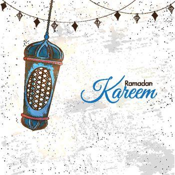 Ramadan Kareem poster design with illustration of hanging lanter