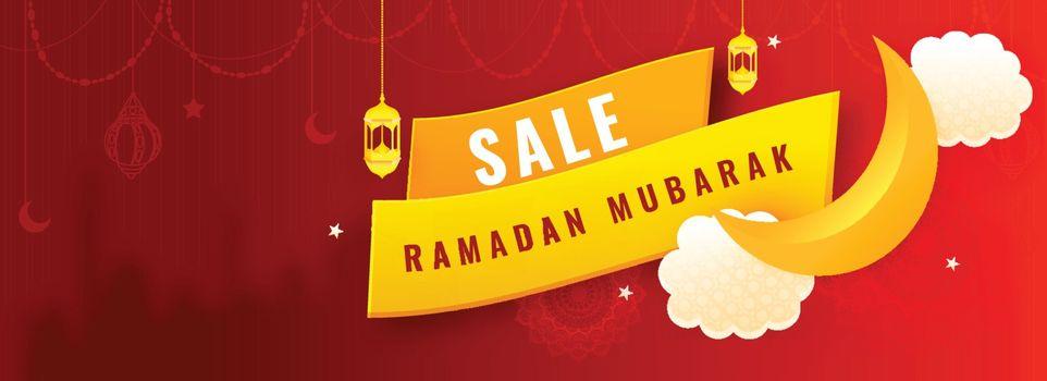 Ramadan Sale Header or banner design. Decoration of beautiful la