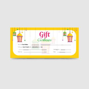 Horizontal Gift Certificate or coupon layout with hanging lanter