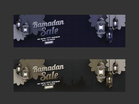 Two set of Sale Header or banner design. Decoration of lantern a