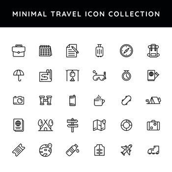 Set of travel icon in black line art.