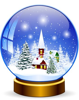 Snow globe. Winter landscape. Snow-covered village in a glass snow globe.