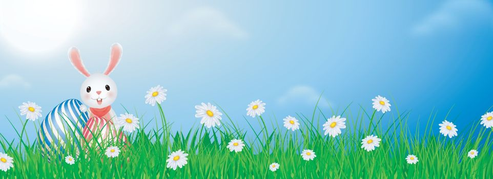 Illustration of bunny with easter egg on sunny weather background for Happy Easter header or banner design.