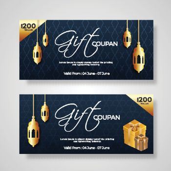 Gift Coupon or voucher layout collection with gift boxes, lanter