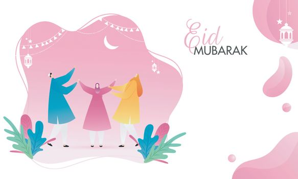Muslim man and women enjoying on the occasion of Eid Mubarak.