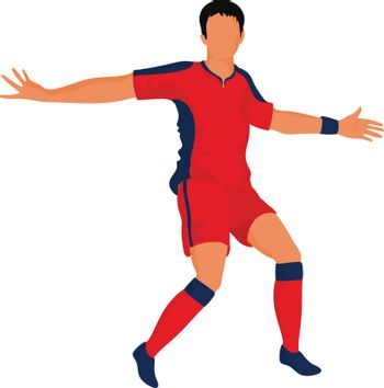 Football player character in defending pose.