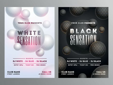 White and black sensation party flyer with time date and venue d