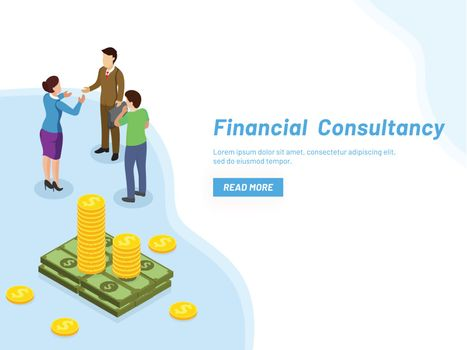 Responsive web template design for Financial Consultancy concept, miniature lady consultant providing monetary solutions to business people.