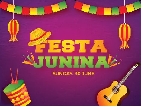 Music instrument Creative on purple paper texture background for Festa Junina party celebration banner or poster design with date and day.