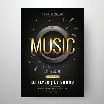 Music party template or flyer design with time, date and venue d