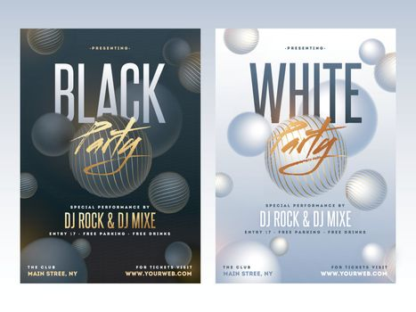 White and black sensation party flyer with time, date and venue