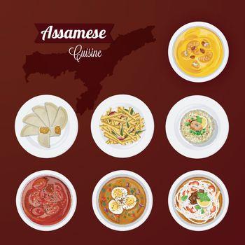 Assamese cuisine view of delicious cuisine for restaurant.
