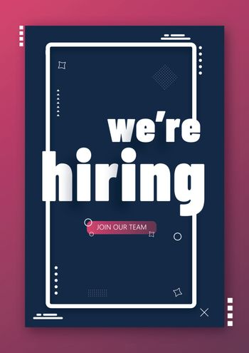 Black template or flyer design for job vacancy advertising conce