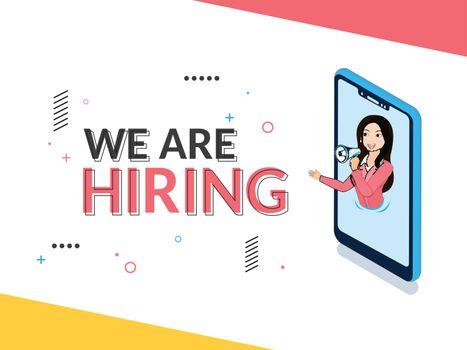 Online Job Vacancy announcement from woman in smartphone screen