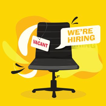 Job Vacancy banner or poster design with office chair for design