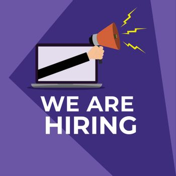 Online advertising job vacancy app in laptop for We're Hiring co