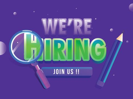 We're Hiring, Job Vacancy banner design with magnifying glass an