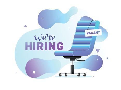 We're Hiring, Job Vacancy banner or poster design with office ch