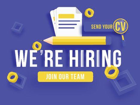 We're Hiring, Job Vacancy banner or poster design for advertisin