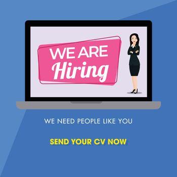 Online advertising job vacancy from businesswoman in laptop scre
