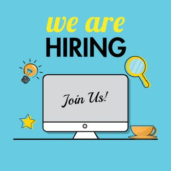 Join us, Office job vacancy from online advertising by computer