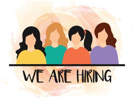 We're Hiring, Job Vacancy banner or poster design for women empl
