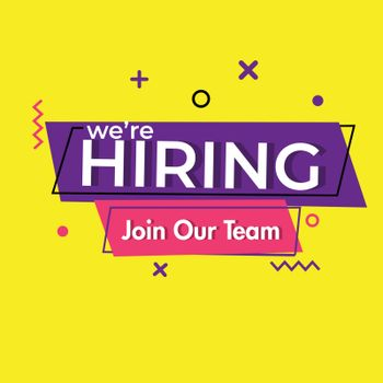 We're Hiring, join our team for Job vacancy concept. Advertising