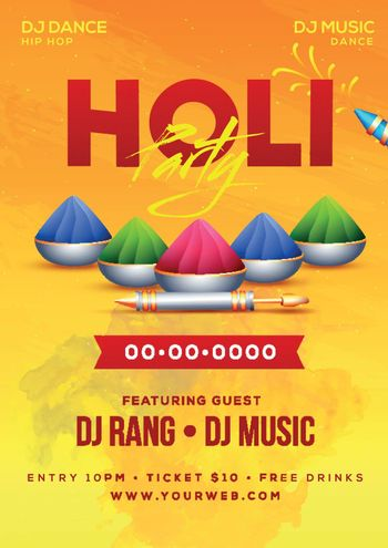 Holi party template or flyer design in with date, time and venue
