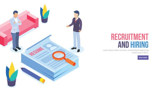 Isometric design for responsive web banner, people or employer d