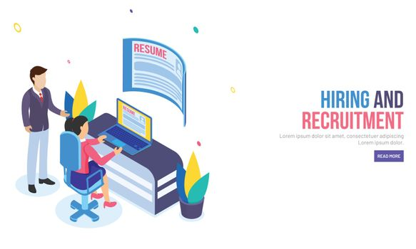 Isometric design for landing page, employer analysis the resume