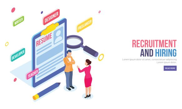 Isometric illustration of resume, to employer discuss for hiring