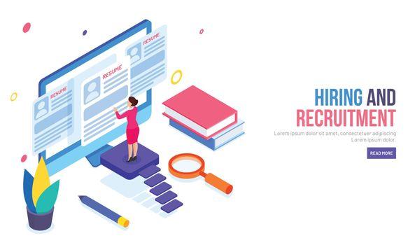 Hiring And Recruitment concept, Isometric desktop, lady employer
