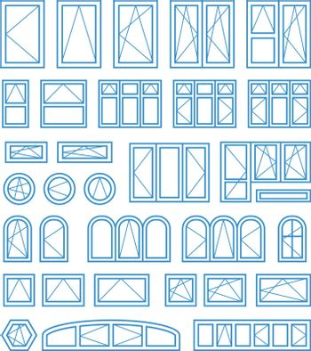 Types of opening and closing windows and doors. Vector illustration