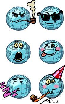 character planet earth. dream humor birthday surprise spy smoking set Emoji