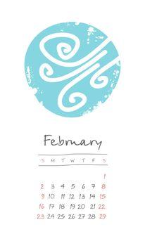Calendar 2020 months February. Week starts Sunday